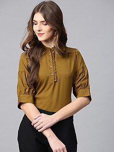 Ives Women Olive Green Solid Shirt Style Top