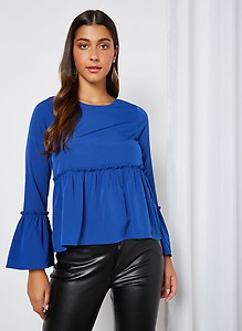 Bell Sleeve Solid Top Blue