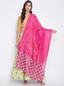 magenta silk blend embroidered dupatta
