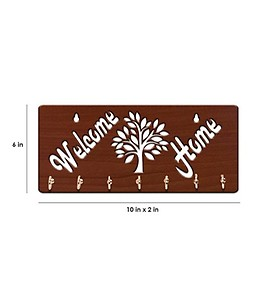 Brown Welcome Home Wooden 7 Hooks Key Holder by Sehaz Artworks