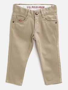 U S Polo Assn Kids Boys Khaki Solid Regular Trousers