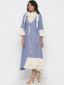 embroidered a-line ethnic dress with scarf