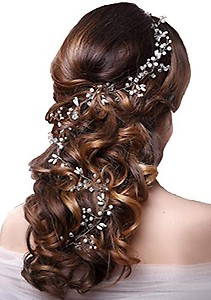 Ziory 1 Pc Silver Zinc Alloy Pearl Floral Hair Accessories for Girls and Women (50 cm)