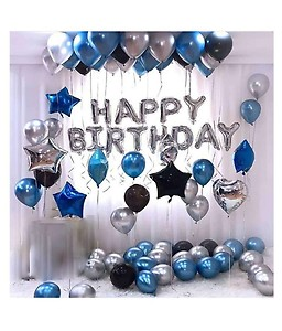 Happy Birthday Letter Foil Balloon Set of Silver + Pack of 30 HD Metallic Balloons (Black, Blue and Silver) for Birthday Decoration