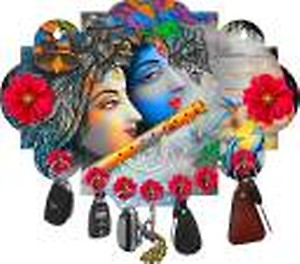 Brothers Creation Radha Krishna Beautiful Home Wooden Key Holder Wood Key Holder(7 Hooks, Multicolor)