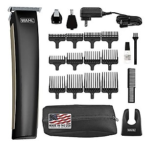 WAHL 09899-024 Aqua Blade Rechargeable Wet Dry Lithium Ion Deluxe Trimming Kit with 2 Interchangeable Heads (Black) price in India.