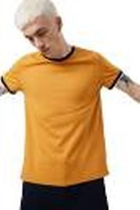 Solid Men Round Neck Orange T-Shirt