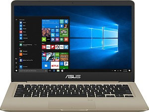 Asus VivoBook S14 Core i3 8th Gen - (8 GB/1 TB HDD/256 GB SSD/Windows 10 Home) S410UA-EB796T Laptop  (14 inch, Gold, 1.3 kg) price in India.