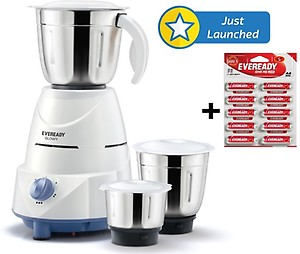 Eveready Glowy Mixer Grinder, 500W, 3 Jars (White and Blue) price in India.