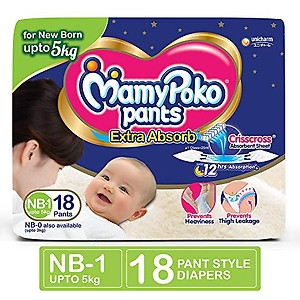 MamyPoko Pants Extra Absorb Diaper for New Born, suitable for up to 5 Kg of New Born, NB - 1 Size , Pack of 18 (NB 1 - 18)