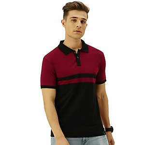 Veirdo Men's Half Sleeve Regular Fit T-Shirt (P-22_BLKMRN_S_Multicolored_Small)