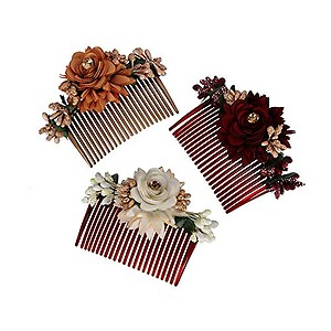 Accessher Multicolor Pack of 3 Acrylic Comb Indo Western Fancy Hair Clip/Side Pin/Comb Pin/Jooda Pin Hair Accessories with Cloth Flower for Women and Girls