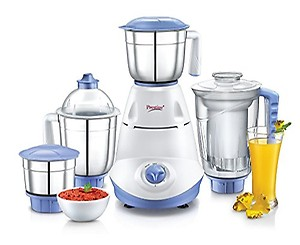 Prestige Iris 750 Watt Mixer Grinder with 3 Stainless Steel Jar + 1 Juicer Jar (White and Blue) price in India.