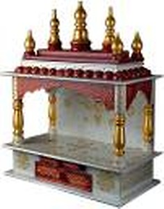Marusthalee Red & White Temple Engineered Wood Home Temple(Height: 45, DIY(Do-It-Yourself))