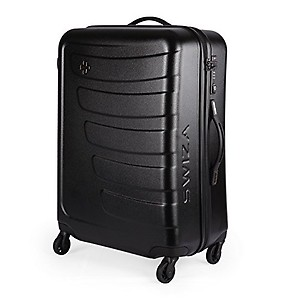 Swiza Justus 65 Cms 4-Wheel Hardsided ABS and Polycarbonate Luggage Trolley Bag (Black)