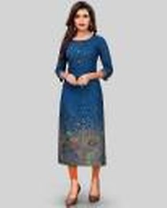 Women Printed Rayon Straight Kurta(Blue)