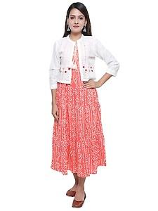 bandhani tiered ethnic dress with jacket