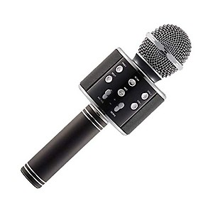 BRIX YO-701 Wireless Karaoke Mic| Rechargeable Bluetooth Singing Microphone with Audio Recording| Bluetooth Speaker/Karaoke Mike Feature with USB Charging Cable for All Smartphones (Black)