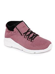purple fabric slip on sports shoes