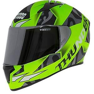 Studds Thunder D7 Matt Neon Green With Mirror Visor (L)